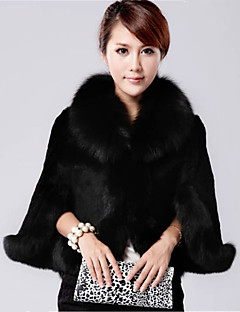 Women's Plus Size / Casual/Daily / Party/Cocktail Simple Fur CoatSolid Shawl Lapel  Length Sleeve Fall /