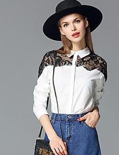 Mulheres Camisa Happy-Hour Simples Primavera / Outono,Sólido Branco / Preto Algodão Colarinho de Camisa Manga Longa Média