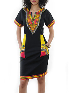 Women's Going out / Party/Cocktail Sexy / Vintage Bodycon DressPrint Round Neck Above Knee Short Sleeve Black