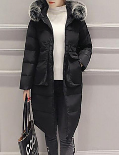 Women's Solid Blue / White / Black Down Coat,Simple / Street chic Hooded Long Sleeve