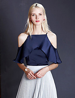 Women's Casual/Daily Sexy / Simple Layered Off-The-Shoulder Chiffion Summer Tank TopSolid Strap Sleeveless Blue / White