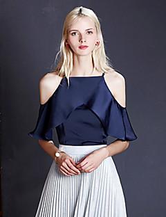 Dámské Jednobarevné Běžné/Denní Sexy / Jednoduché Bez rukávů-Léto Polyester Ramínka Bez rukávů Modrá / Bílá Tenké