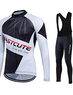 Fastcute® חולצת ג'רסי וטייץ ביב לרכיבה לנשים / לגברים / יוניסקס שרוול ארוך אופנייםנושם / שמור על חום הגוף / ייבוש מהיר / בטנת פליז /