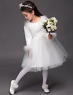 Da ballo Al ginocchio Abito da damigella d'onore bambina - Raso Manica lunga Con decorazione gioiello con Fiore (i)