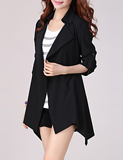 Women's Casual/Daily Plus Size / Street chic Trench Coat,Solid Shirt Collar Long Sleeve Spring Black / Green Rayon / Polyester Thin