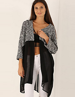 Women's Going out / Casual/Daily Sexy / Simple All Seasons BlousePatchwork Cowl  Sleeve White / Black