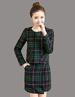 女性 お出かけ 秋 セット スカート スーツ,ストリートファッション ラウンドネック チェック グリーン ポリエステル 長袖 ミディアム