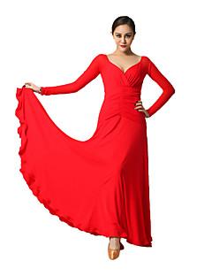 Dança de Salão Vestidos Mulheres Actuação Tule / Viscose Pano 1 Peça Manga Comprida Natural Vestidos M:129cm L:130cm XL:131cm XXL:132cm