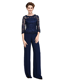 Sheath / Column Pantsuit Jewel Neck Floor Length Lace Georgette Mother of the Bride Dress with Lace by LAN TING BRIDE®