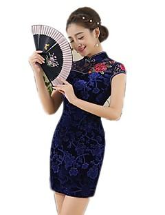 한 조각/드레스 코스프레 로리타 드레스 플로럴 짧은 소매 중간 길이 용 면