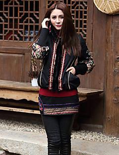 Damen Gefüttert Mantel,Standard Boho Ausgehen Blumen-Baumwolle Baumwolle Langarm Schwarz Ständer