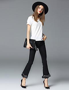 frmz női egyszínű fekete farmer / széles láb pantsstreet elegáns