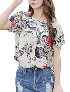 여성의 프린트 라운드 넥 짧은 소매 블라우스,빈티지 / 스트리트 쉬크 데이트 베이지 레이온 얇음