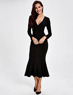 Women's Going out Sexy Bodycon DressSolid V Neck Midi Long Sleeve Black Cotton Fall Mid Rise Stretchy Medium