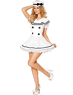 Costumes Uniforms Halloween / Oktoberfest White Solid Terylene Dress / More Accessories