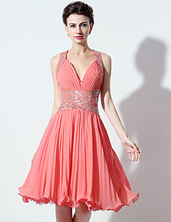 Cocktail Party Dress A-line V-neck Short / Mini Chiffon with Crystal Detailing