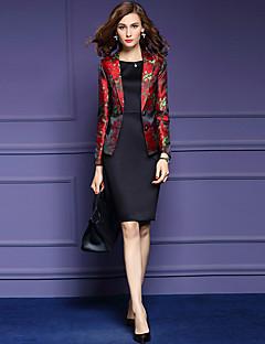 דפוס V עמוק סגנון רחוב ליציאה / מידות גדולות בלייזר נשים,סתיו שרוול ארוך אדום בינוני (מדיום) פוליאסטר