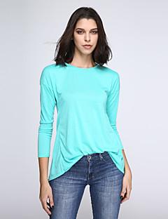 Damen Solide Einfach Lässig/Alltäglich Bluse,Rundhalsausschnitt Alle Saisons Langarm Blau Polyester Dünn