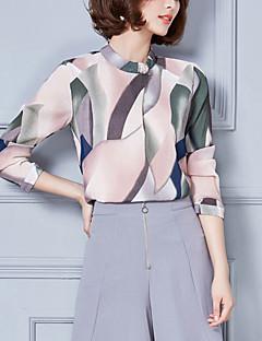 Blusa Da donna Casual Semplice Autunno,Con stampe Colletto alla coreana Cotone Grigio / Verde Manica lunga Medio spessore