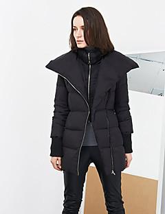 Damen Daunen Mantel,Lang Einfach Ausgehen Solide-Polyester Weiße Entendaunen Langarm Ständer