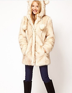 Women's Plus Size /  Party/Cocktail Simple Fur Coat,Solid Hooded Long Sleeve Fall / Winter Yellow Acrylic Thick