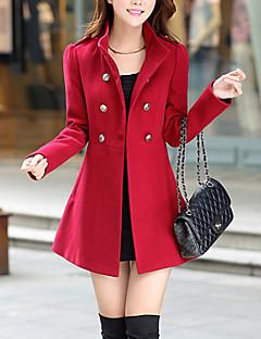 Dámské Jednobarevné Práce Vintage Kabát-Vlna / Bavlna Podzim / Zima Stojáček Dlouhý rukáv Modrá / Červená / Zelená