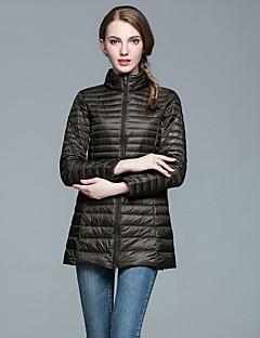 Damen Daunen Mantel Einfach Lässig/Alltäglich Solide-Polyester Weiße Entendaunen Langarm Ständer