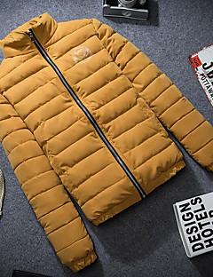 Langærmet Dunjakke Herrer Frakke,Simpel Afslappet/Hverdag Plusstørrelser Ensfarvet-Polyester Polyester