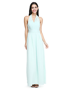 Sheath / Column Halter Ankle Length Chiffon Bridesmaid Dress with Sash / Ribbon Ruching Pleats by LAN TING BRIDE®