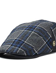 Men England Vintage Casual Tweed Plaid Wool Beret Casquette Hat