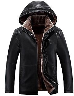 Men's Plus Size / Casual/Daily Simple Leather Jackets,Solid Long Sleeve Black / Brown / Yellow Faux Fur