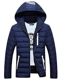Herren Gefüttert Mantel,Lang Einfach Lässig/Alltäglich Solide-Polyester Polyester Langarm Blau / Rot / Schwarz / Grau