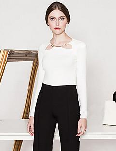 Feminino Camiseta Happy-Hour Simples Primavera / Outono,Sólido Branco / Preto Algodão Decote Redondo Manga Longa Opaca