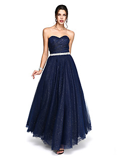 2017 TS Couture® Formal Evening Dress - Sparkle & Shine Ball Gown Sweetheart Ankle-length Tulle with Beading / Sash / Ribbon / Side Draping