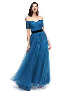 TS Couture® Prom  Formal Evening Dress - Elegant A-line Off-the-shoulder Floor-length Tulle with Sash / Ribbon / Criss Cross / Ruching