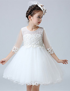 A-line Short / Mini Flower Girl Dress - Cotton / Satin / Tulle Half Sleeve Jewel with Appliques