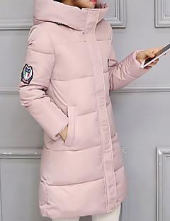 Langærmet Lang Dunjakke Dame Frakke,Vintage / Simpel / Street I-byen-tøj / Casual/hverdag Ensfarvet-Bomuld Polypropylen RullekraveBlå /