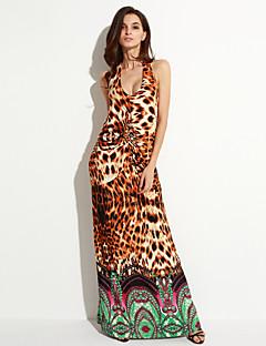 甘いカーブ女子ビーチプラスサイズドレス、ヒョウホルターミディノースリーブ黄色スパンデックス/その他夏