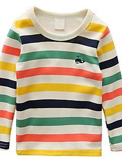 Guttens Fritid/hverdag T-skjorte Stripet Bomull Vår / Høst Flerfarget