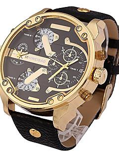 Men's Sport Watch Military Watch Dress Watch Fashion Watch Wrist watch Dual Time Zones Punk Quartz Leather Band Vintage Cool Casual Luxury