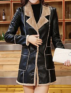Dames Street chic Herfst / Winter Leren jacks,Uitgaan Ingesneden revers-Lange mouw Bruin / Grijs Effen / Patchwork Medium Polyester