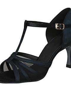 Obyčejné-Dámské-Taneční boty-Latina / Jazz / Salsa / Swing-Satén-Na zakázku-Černá / Hnědá