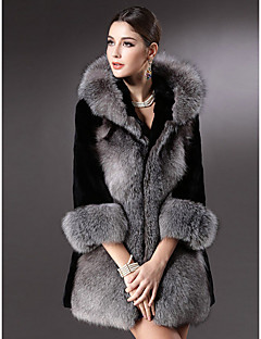 Women's Casual/Daily Simple Fur Coat,Solid Long Sleeve Winter Gray Faux Fur