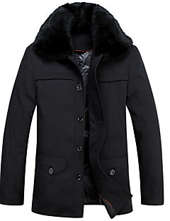 Men's Regular Down Coat,Simple Casual/Daily Solid-Polyester White Duck Down Long Sleeve Shirt Collar Black