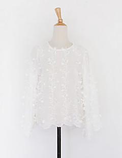 Feminino Camisa Happy-Hour / Casual Sensual / Simples / Fofo Primavera / Outono,Sólido Branco Algodão Decote Redondo Manga Longa Média