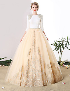 Formal Evening Dress Ball Gown Jewel Cathedral Train Satin / Tulle with Crystal Detailing / Lace / Pearl Detailing