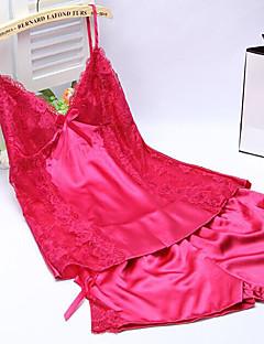 Feminino Super Sensual Roupa de Noite,Sensual Cor Única-Médio Seda Branco Rosa Roxo Azul Amarelo Preto