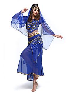 Belly Dance Outfits Women's Performance Chiffon Sequins 4 Pieces Top&Skirt&Waist belt&Head veil