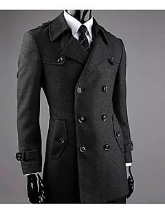 Masculino Casaco Casual Simples Inverno,Sólido Preto Lã Colarinho de Camisa-Manga Longa Média