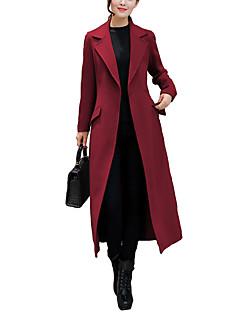 אחיד צווארון חולצה פשוטה יום יומי\קז'ואל מעיל נשים,אדום / חום / ירוק שרוול ארוך חורף ניילון